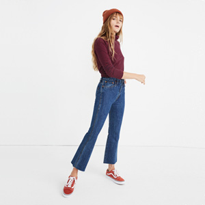 100 cotton jeans with demi-boot leg and cutoff hem