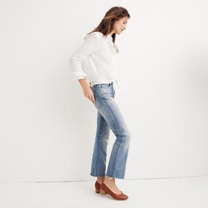 Cropped demi-boot cut cotton jeans