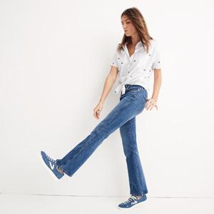 Rigid flare cotton jeans