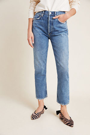 100% cotton high-rise cropped straight jeans