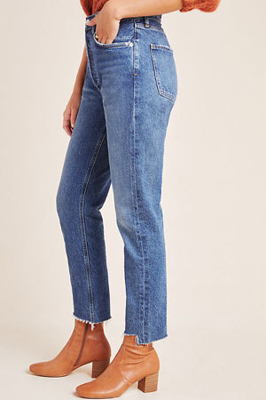 High-rise straight jeans with no stretch