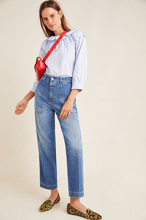 Relaxed high-rise cargo nonstretch jeans