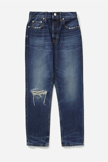 Straight rigid denim womens jean in dark wash
