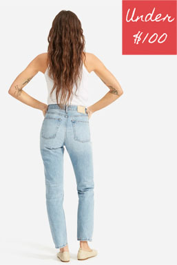 Bleached mom fit jeans in no stretch cotton