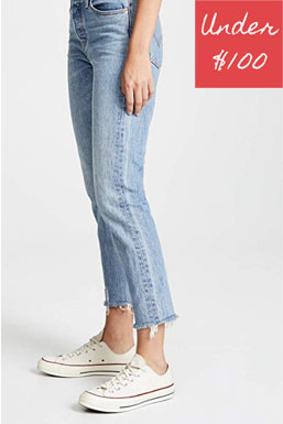 Raw edge hem cotton denim jeans