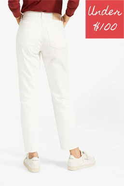White premium cotton non stretch jeans