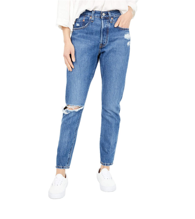 100% cotton skinny jean womens ripped knee