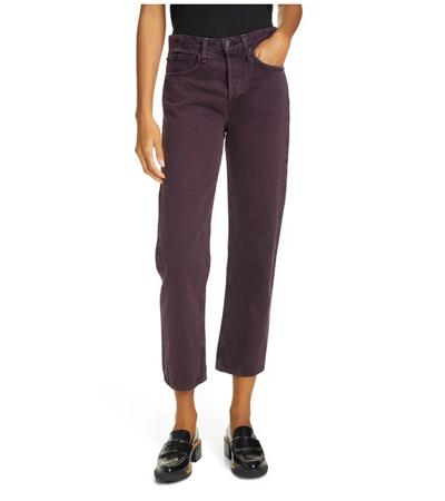100 organic cotton high waist ankle purple jeans