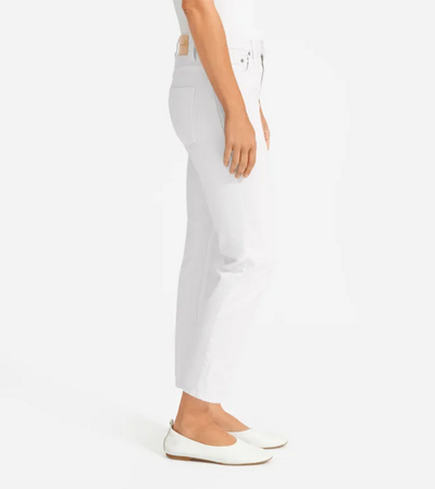 Fitted mid-rise jean in lightweight white rigid cotton
