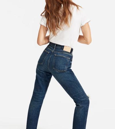 Straight rigid denim womens jean in dark wash