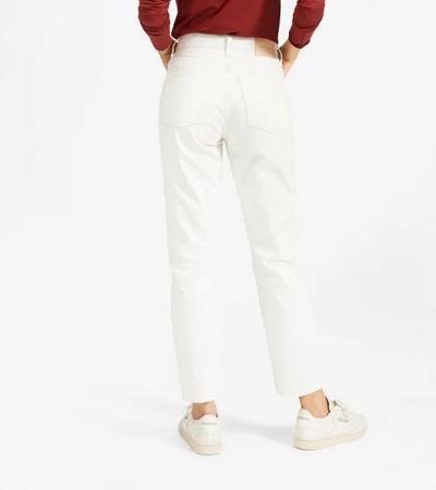 White premium cotton non stretch jeans