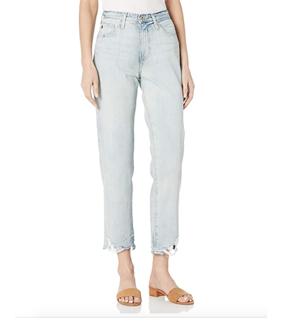 Distressed cotton denim jeans that will not stretch