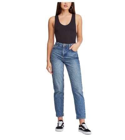 Faded mom fit rigid jeans