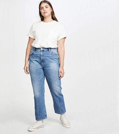 High rise ankle jeans in 100 cotton plus size