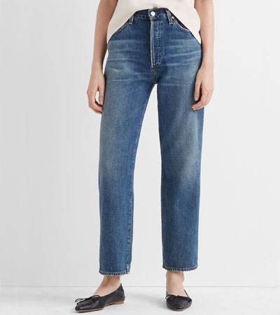 Loose fit pure cotton jeans without stretch