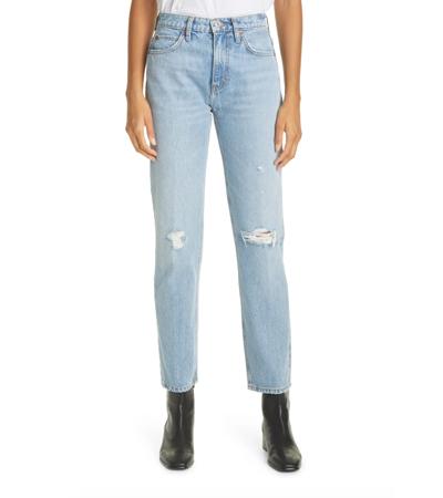 Vintage distressed straight rigid jeans