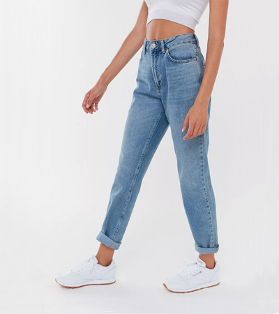 High rise nonstretchable denim jeans