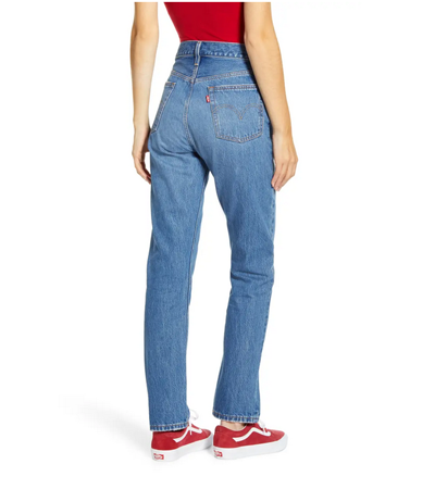 Nonstretch straight leg jeans in classic wash