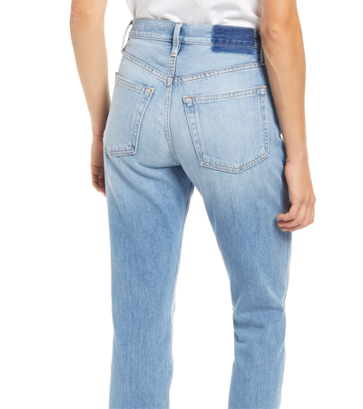 Patch high waist jeans with no stretch