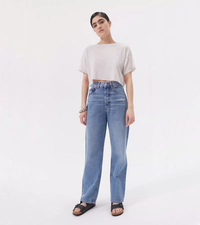 Relaxed fit rigid jeans with no stretch
