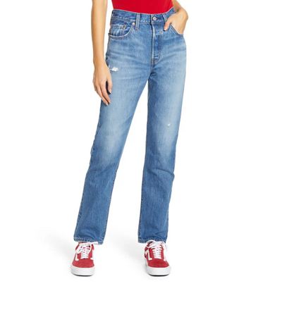 Nonstretch denim cotton jeans