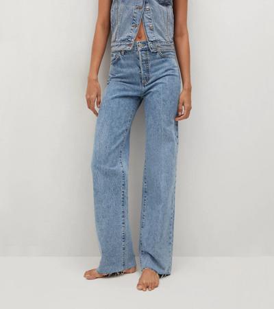 Wide leg high waist 100 percent cotton jeans