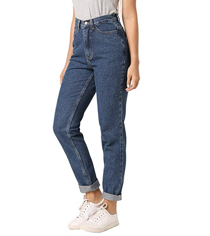 Cotton jeans in mom fit